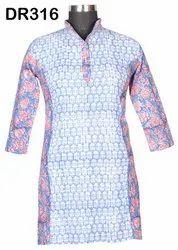 Cotton Hand Block Print Pintuck Women's Short Top Kurti DR316
