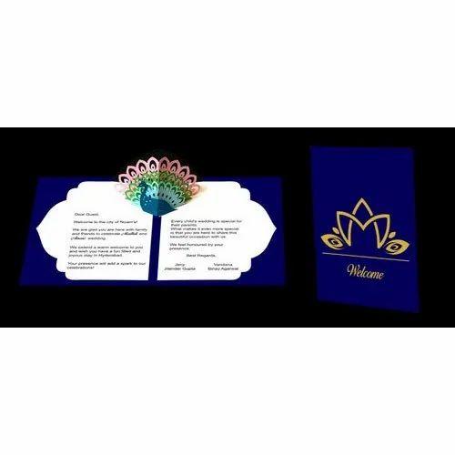 Luxury Craft Paper Laser Cut Indian Wedding Invitation Card 3D Pop Up