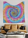 Shibori Tie & Dye Mandala Tapestry Hand Screen Printed Wall Hanging Tapestry