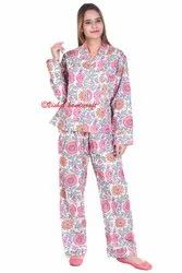 Cotton Hand Block Print Women Pajama Set Night Wear