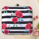 Rose Printed Box Clutch