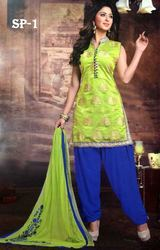 Designer Semi Patiala Suit For Ladies