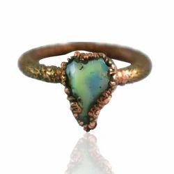 Rough Opal Gemstone Electroformed Women Ring