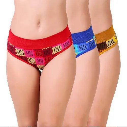 Girl' s Ramp Plain Women Printed Lycra Cotton Bikini Panties, 2019