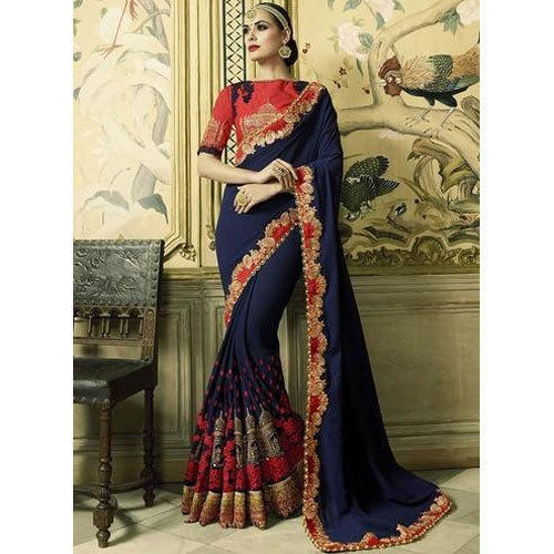 31be8dcdac282 Faux Georgette Available In Many Color Georgette Resham Work Saree ...