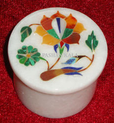 Round Marble Inlay Decorative Box