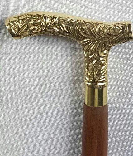 Antique Brass Victorian Handle Wooden Vintage Style Walking Stick Cane Gift