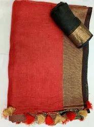 Plain Party Wear Linen Saree, With blouse piece, 5.5 M (separate Blouse Piece)