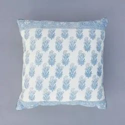 Sky Blue Hand Block Cotton Cushion Cover