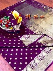 Banarasi Silk Casual Wear Dark Purple Saree With Blouse Piece