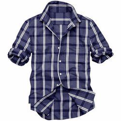 Casual Wear Mens Blue Double Check Cotton Shirt