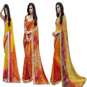Chiffon Bandhani & Rubber Print Designer Saree With Blouse Piece, Length: 5.2 M