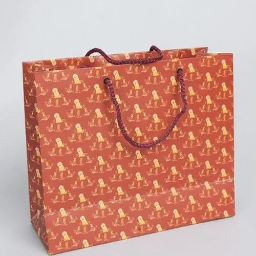 Rust Red Printed Paper Bags, Capacity: 1-3 Kg, for Shopping