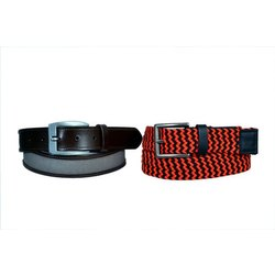 Plain And Printed Red And Black Mens Fancy Leather Belt