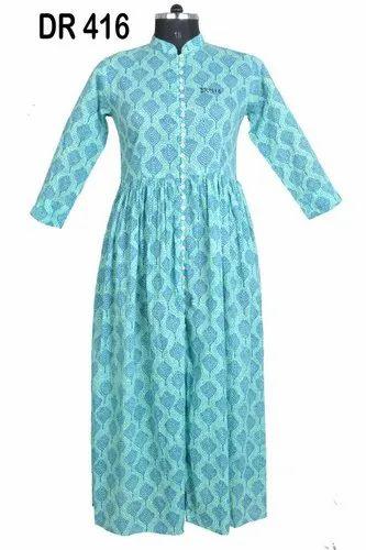 10ca1500fc8 Handmade Multicolor Cotton Hand Block Printed Women  s Long Maxi Dress DR416