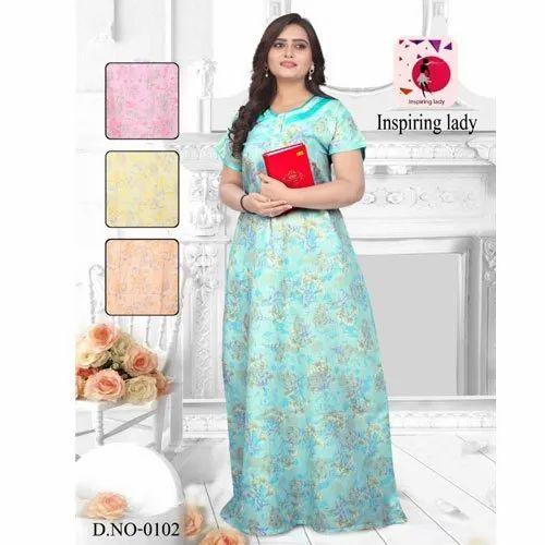 Inspiring Lady Stitched Polyester Cotton Nighty, Size: Large
