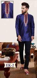 Blue Short Neck Work Mens Indian Kurti