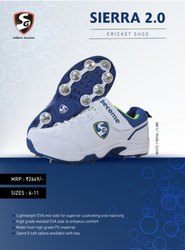 SG White CRICKET SHOES, Model Name/Number: Sierra 2.0, Size: 6-11