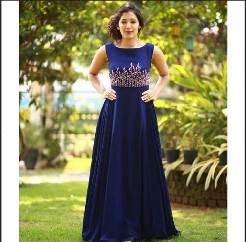 7f8f9d136e98 Gowns - Rajisha Vijayan In A Blue Gown With Floral Work Manufacturer from  Kurali