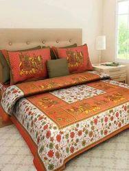 Jaipuri Floral Printed Bed Sheet