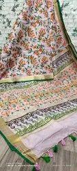 Hand Block Printed Linen Saree