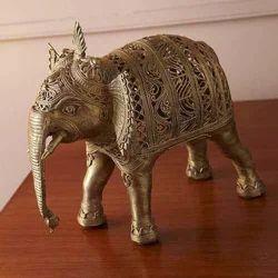 Metallic Polished Metal Elephant Statue, For Interior Decor, Size/Dimension: Costumize