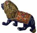 Metal Meenakari Lion Statue Enamel Work Sculpture