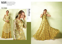 PR Fashion Satin Printed Launched Designer Gown