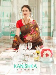 Shangrila Kanishka Linen Cotton Printed Saree Catalog Collection at Textile Mall Surat