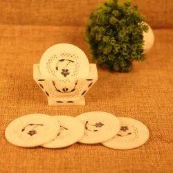 Marble Tea Coaster With Inlay Work