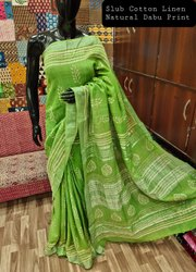 Casual Wear Printed Cotton Linen Saree With Bp