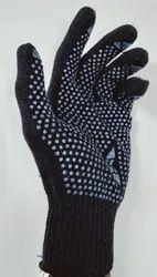 Blue Unisex Cotton Dotted Gloves