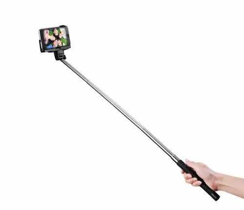 Black And Silver Wireless Selfie Stick, For Photographi