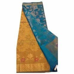 Womens Double Shaded Dupion Designer Silk Saree, Length : 6.5 m