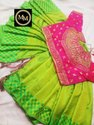 First Quality Double Shinning Paper Silk Saree With Checked Weaving And Stone Wrk Border