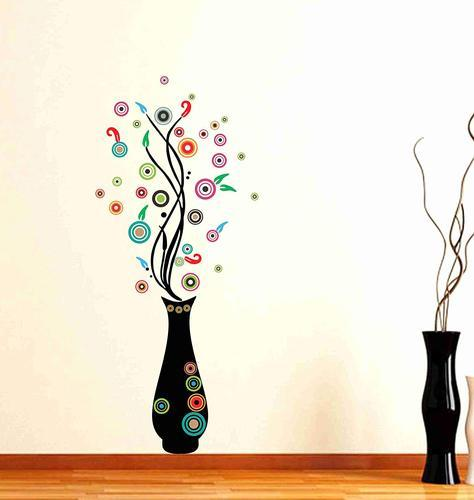 multicolor multiple decor kafe flower pot wall stickers, size