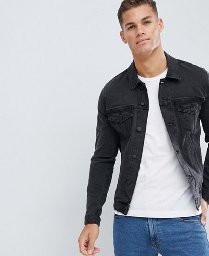 ead395f227a Casual Wear Printed Plain Black Denim Jacket For Men, Rs 920 /piece ...