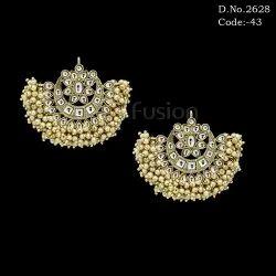 Ethnic Pearl Beaded Kundan Chandbali Earrings