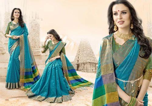 f9f287f68d Blue Designer Cotton Silk Sarees, Rs 760 /piece, Hitansh Online | ID ...