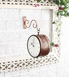 Susheela Brown Double Sided Wall Watch, For Home