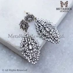 Baguette Diamond Silver Dangle Earrings