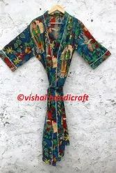 Women's Frida Kahlo Print Long Cotton Kimono Bath Robe Gown Dress