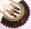 Copper Multicolor Designer Wedding Necklace Set For Women Jewelery