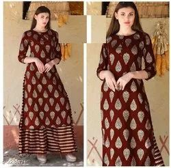 Ladies Gold Printed Palazzo Suit