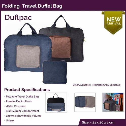 ef95d9b422 Denim Finish Black And Blue Folding Duffel Bag