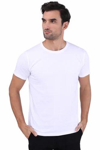 9de0128fb Men' s Cotton Half Sleeves Round Neck Plain Biowash Silicon Wash T-Shirt