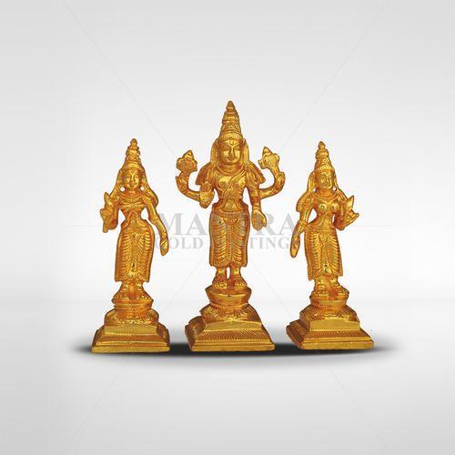 Gold Plated Vishnu Sridevi Bhudevi