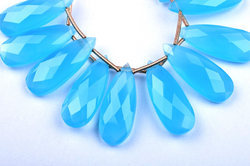 3 Matched Pairs 10x25mm Sky Blue Chalcedony Quartz Microfaceted Elongated Pear Drops Briolette Beads