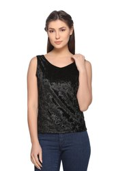 Women's Sleeveless Velvet V Neck Top