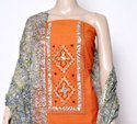 Plain And Embroidered Orange And Brown Cotton Dress Material, Gsm: 150-200 And 200-250